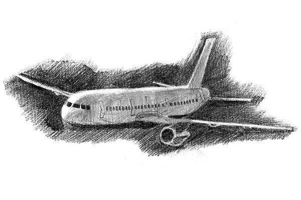 素描飞机的绘画步骤