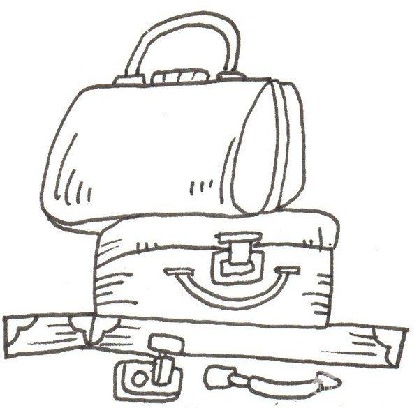 卡通画:行李箱的绘画步骤