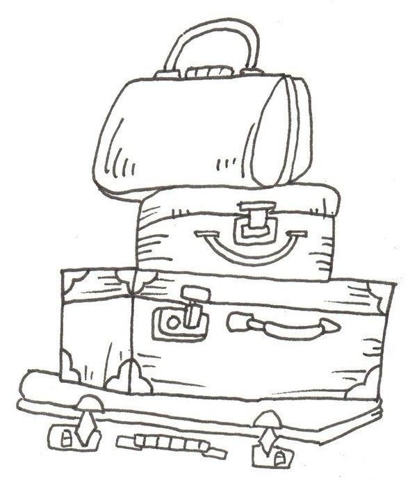 将身子的部分补充完整。  卡通画行李箱的绘画步骤四 再画第二个大行李箱,角度和第一个有所不同。  卡通画行李箱的绘画步骤五 同样将箱子补充完整,使其看起来平衡,再在后面画一个小的箱子。  卡通画行李箱的绘画步骤六