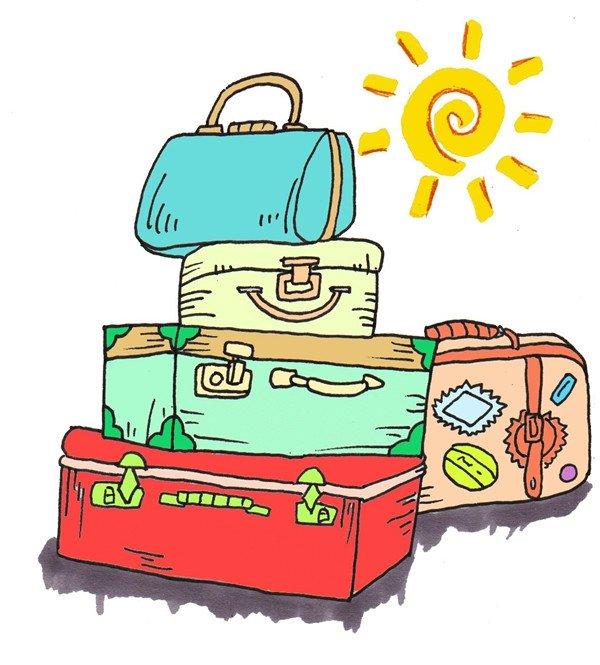 从最顶上的手提包开始涂色。  卡通画行李箱的绘画步骤七 再给大箱子涂上鲜艳的颜色。  卡通画行李箱的绘画步骤八 给后面的小箱子上色,画一个太阳,完成。  卡通画行李箱的绘画步骤九 PS:为了你漂亮的行李箱,也要多出去走走啊!东西太多的时候别忘了注意财产安全哦!