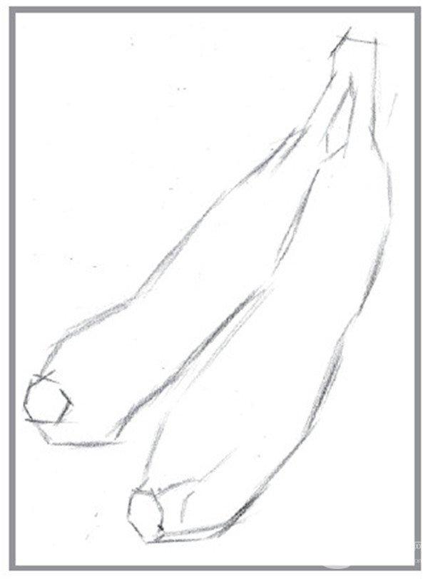 """1、先从构图开始,确保画面的饱满,位置要合理,然后描画出香蕉的外轮廓。  香蕉的""""想法""""的绘画步骤1  香蕉的""""想法""""的绘画步骤1-1  香蕉的""""想法""""的绘画步骤1-2  香蕉的""""想法""""的绘画步骤1-3"""