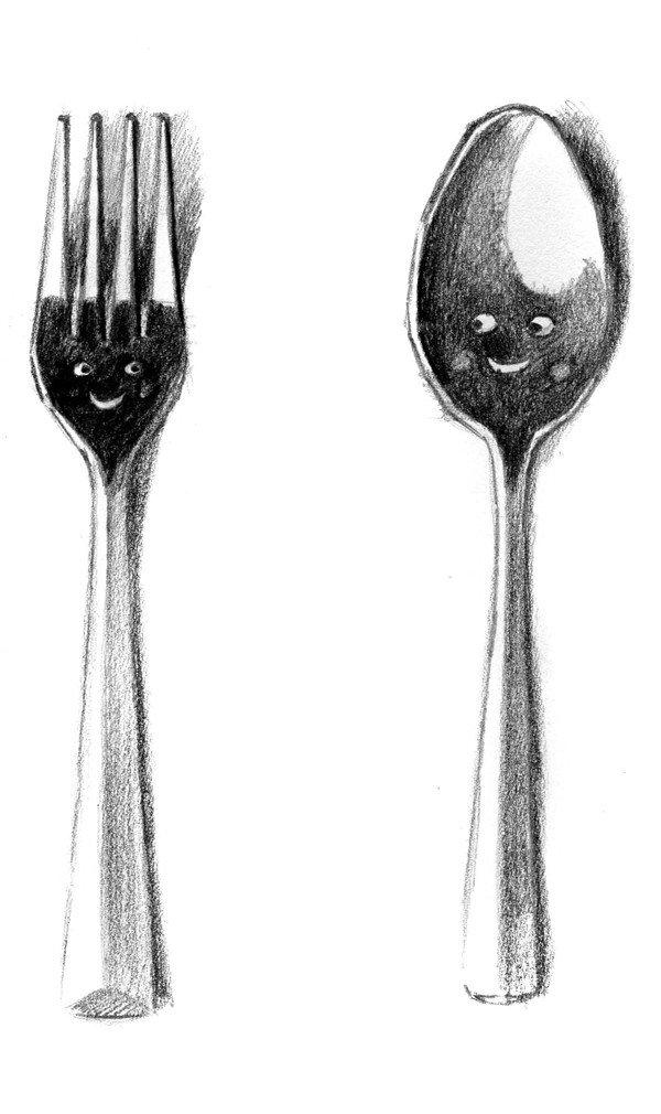 素描一对餐具的绘画步骤5