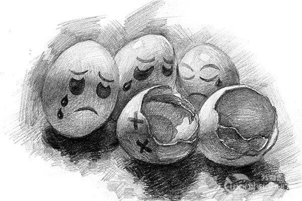 """素描蛋壳的""""哀伤绘画步骤"""