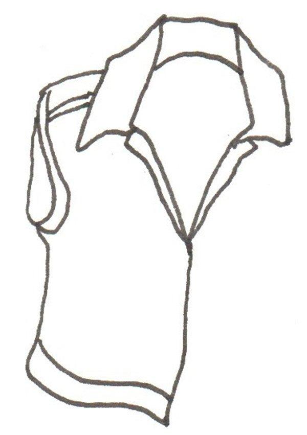 卡通画马甲的绘画步骤二                      ②画衣服左边.