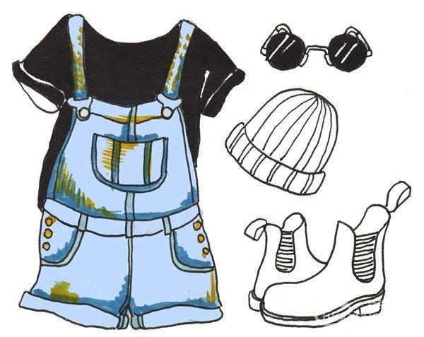 卡通画服装搭配的绘画步骤(3)