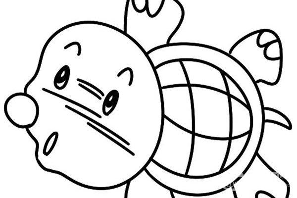 趣味简笔画:游行的海龟绘画步骤