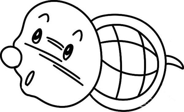 趣味简笔画:游行的海龟绘画步骤(3)