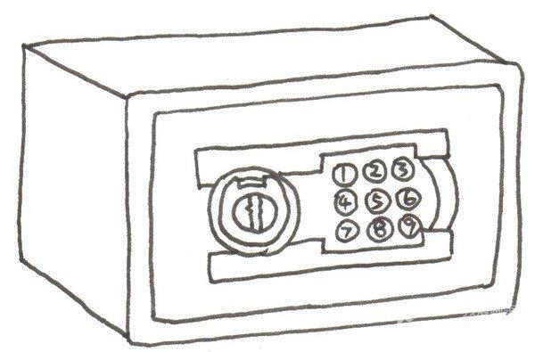 卡通画保险箱的绘画步骤(3)