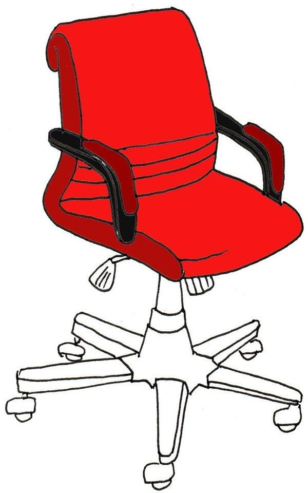卡通画转椅的绘画步骤五 ⑥给椅子涂上红色.