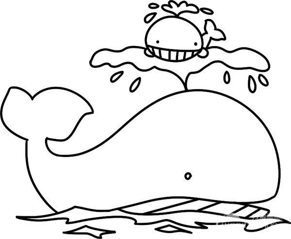 趣味简笔画:跃出水面的鲸鱼绘画步骤四