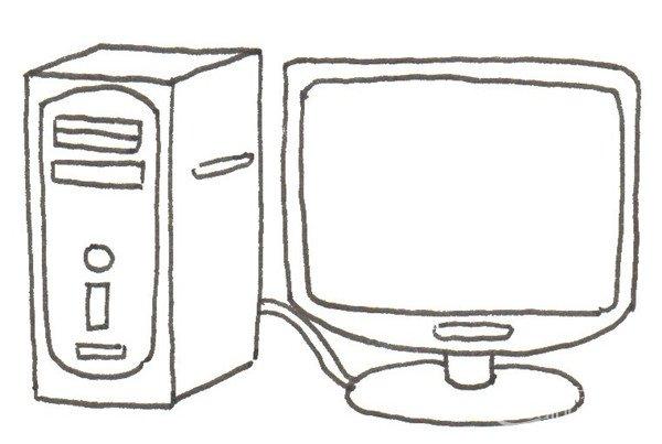 工作台的 步骤    ①先画长方体的主机.    ②然后在右边画显示器.
