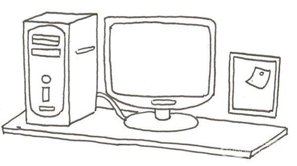 卡通画工作台的绘画步骤三 ④在桌子前面画一把转椅.
