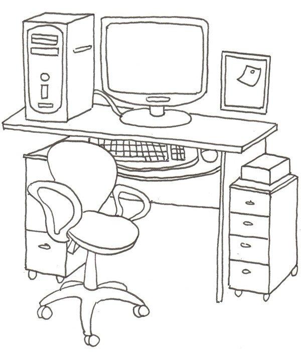 卡通画工作台的绘画步骤五 ⑥在桌子下面画两组抽屉柜.图片