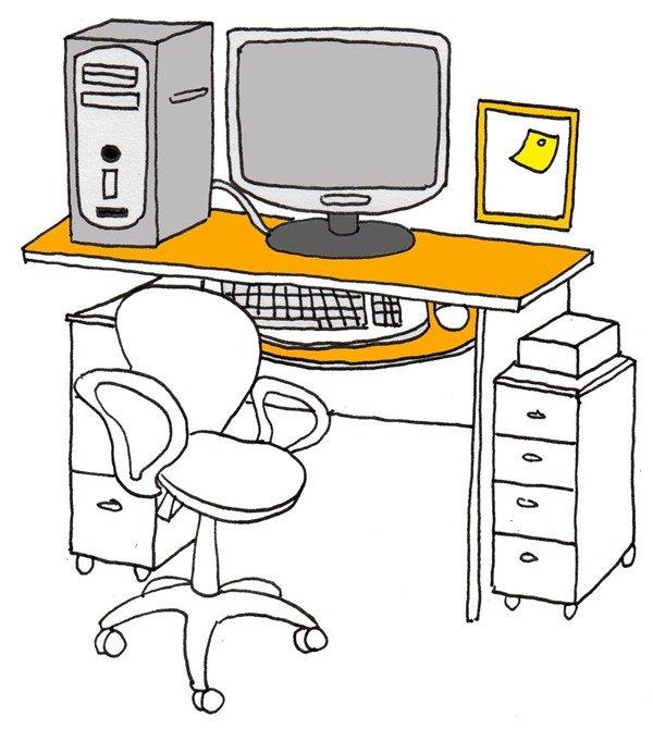 卡通画工作台的绘画步骤七 ⑧给桌子涂上橘黄色.