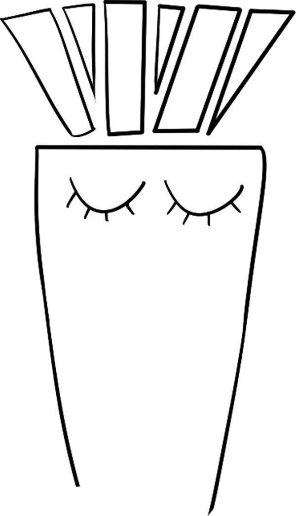 趣味简笔画 唱歌的胡萝卜绘画步骤 2