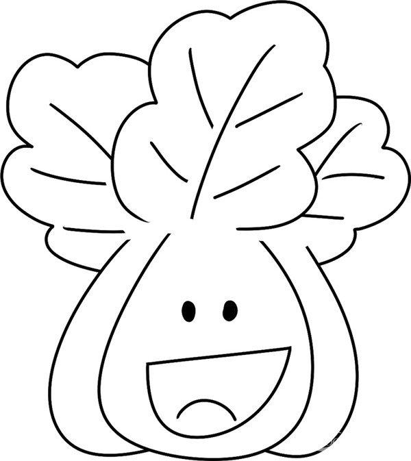 趣味简笔画:新鲜的白菜绘画步骤(4)