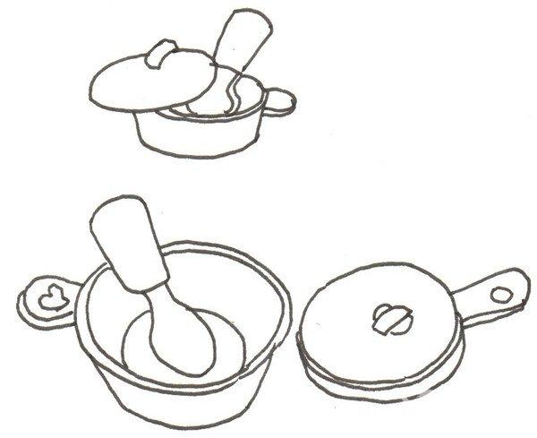 绘画步骤四                      ③在后面加上一个盛着勺子的锅.