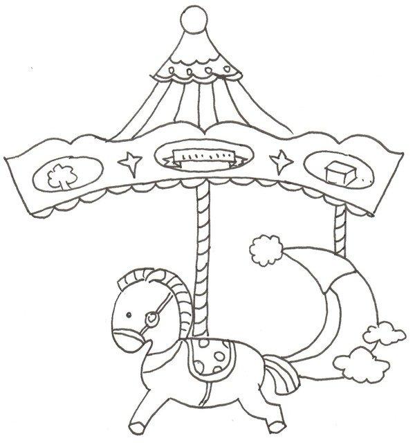 卡通画:旋转木马的绘画步骤(2)