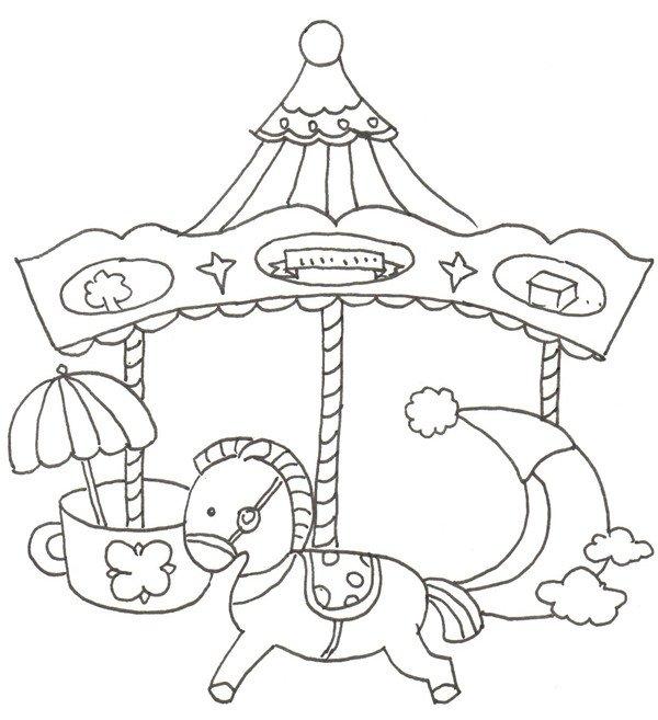 ⑤画一个杯子。  卡通画旋转木马的绘画步骤五 ⑥加上底座,线稿就完成了!  卡通画旋转木马的绘画步骤六