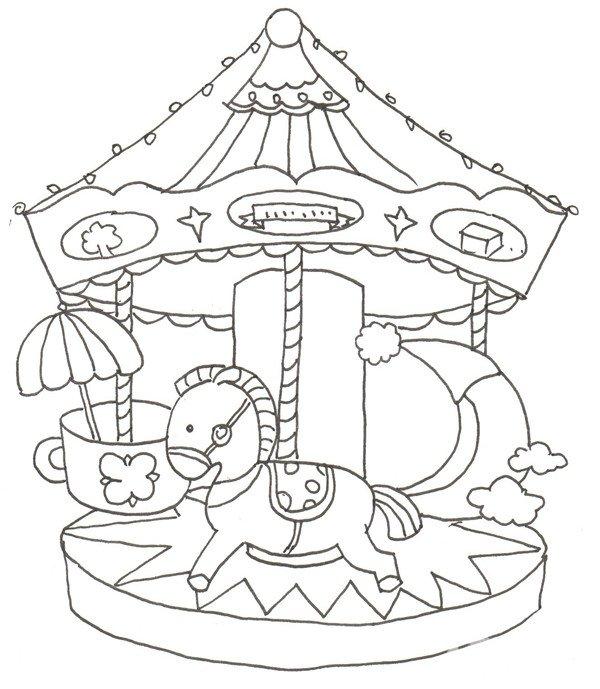 卡通画:旋转木马的绘画步骤(3)