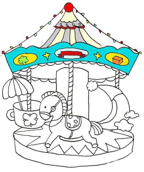 ⑦从棚顶上开始上色,给顶部涂上蓝色,给小灯泡涂上不同的颜色。  卡通画旋转木马的绘画步骤七 ⑧接着给木马、月亮和杯子都涂上鲜艳的颜色。  卡通画旋转木马的绘画步骤八