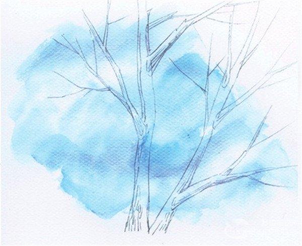 水彩技巧:绘制枯树的树干的技巧_水彩画教程_学画画