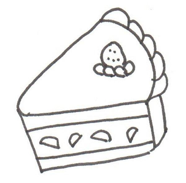 卡通画:蛋糕的绘画步骤(4)