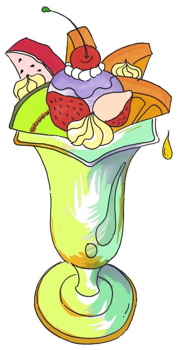 卡通画水果冰淇淋的绘画步骤(4)