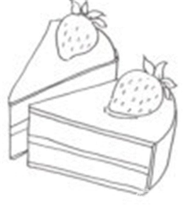 卡通画草莓蛋糕的绘画步骤_儿童画教程_学画画_我爱