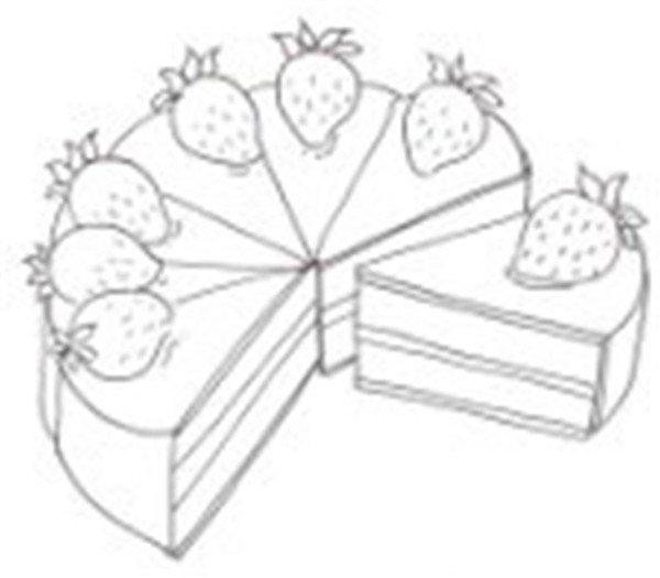 卡通画草莓蛋糕的绘画步骤(2)