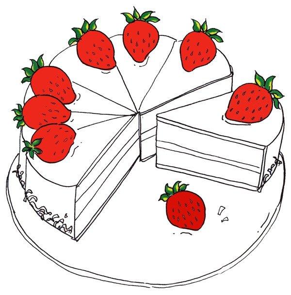 卡通画草莓蛋糕的绘画步骤(3)
