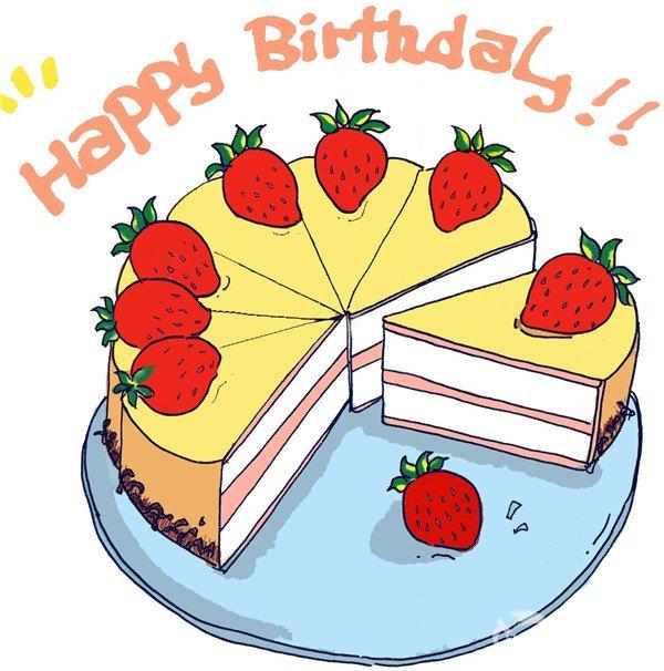 卡通画草莓蛋糕的绘画步骤七 ps:也可以换上你自己喜欢的水果或者