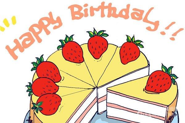 卡通画草莓蛋糕的绘画步骤