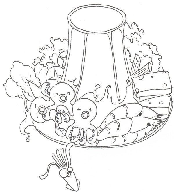 卡通画火锅的绘画步骤六                      ⑤在后面添上蘑菇和