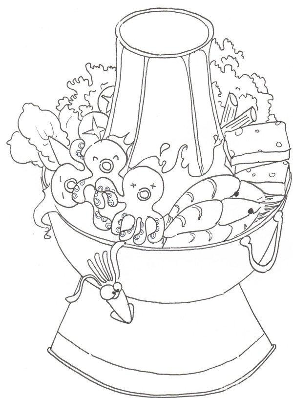 卡通画火锅的绘画步骤教程(3)_儿童画教程_学画画_我