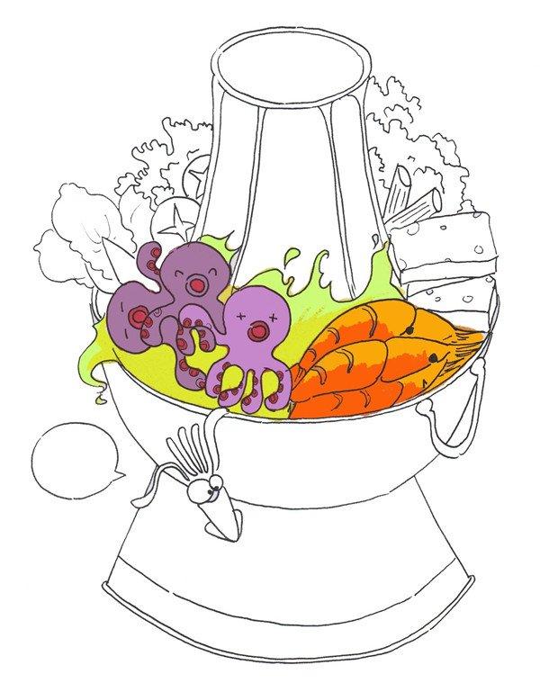 ⑦给鱿鱼涂上浅紫色,给虾涂上橘红色,给汤水涂上黄绿色.