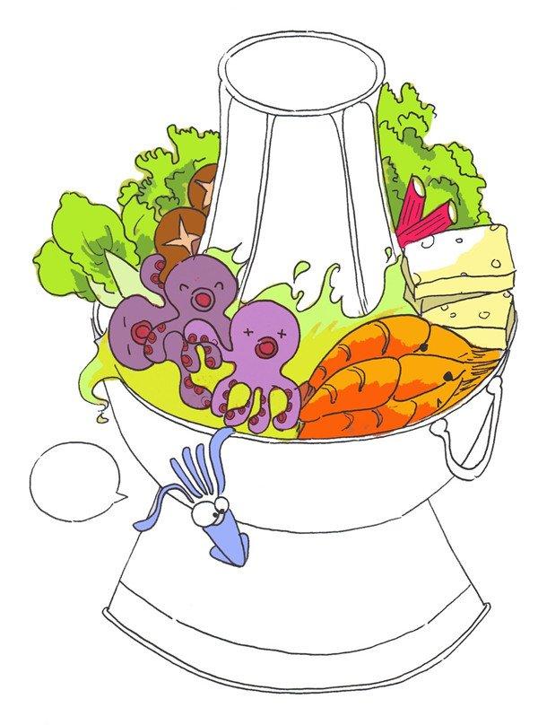 绘画步骤七 ⑧豆腐是乳白色,蘑菇是棕色,蟹棒是玫红色,蔬菜是绿色.