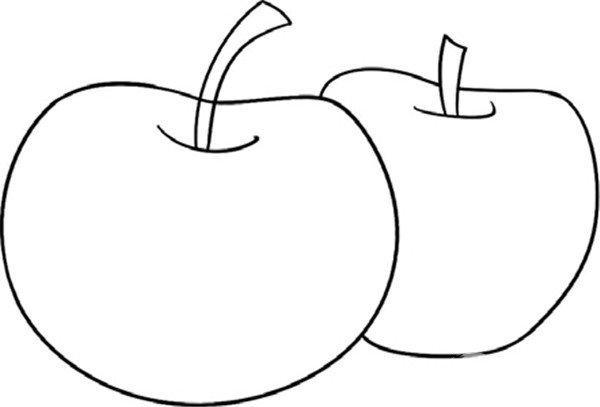 学画画 儿童画教程 简笔画 > 趣味简笔画:脆甜的苹果绘制步骤(2)