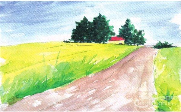 水彩田园风景 乡间小路水彩画