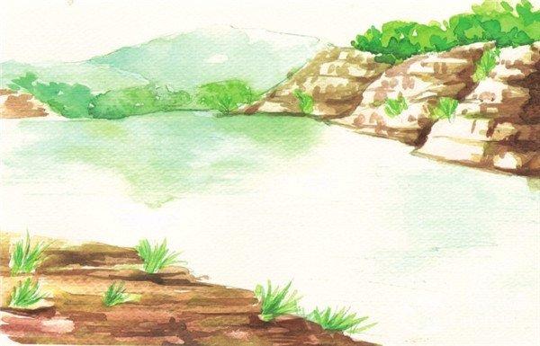 水彩小河风景