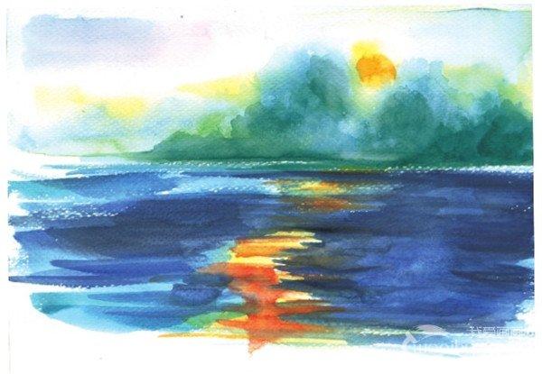 学画画 水彩画教程 水彩风景画 > 水彩画技法:水流的绘制步骤(5)