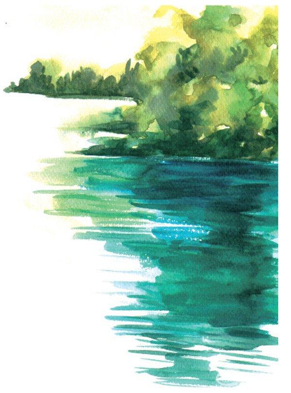 水彩湖泊风景的绘画技法与表现技巧教程