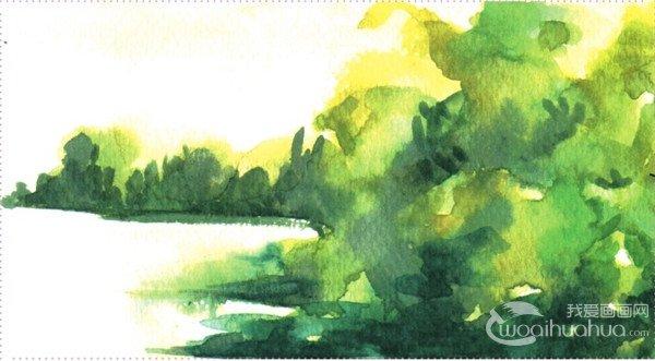 水彩画湖泊风景树林