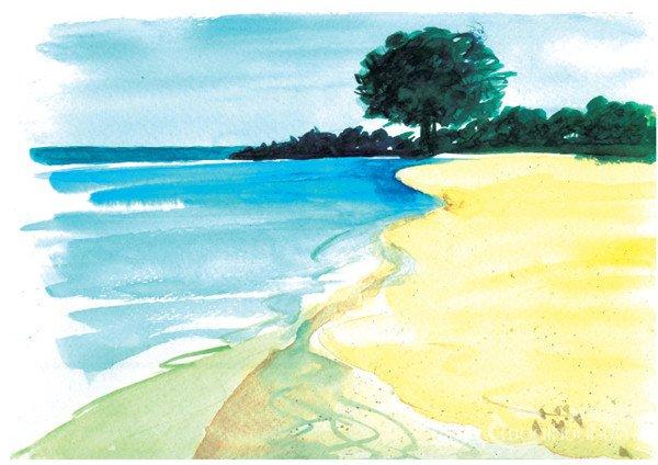> 水彩湖泊风景的绘画技法与表现技巧教程(2)      下面再来学习海洋图片