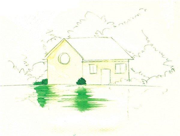 水彩湖泊风景的表现流程    1,用 铅笔画出湖边景色,房屋和树木,再