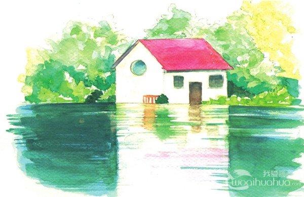 水彩湖泊风景的绘画技法与表现技巧教程(4)