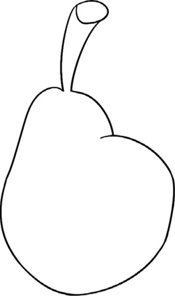 趣味简笔画:鲜嫩的梨绘画步骤二