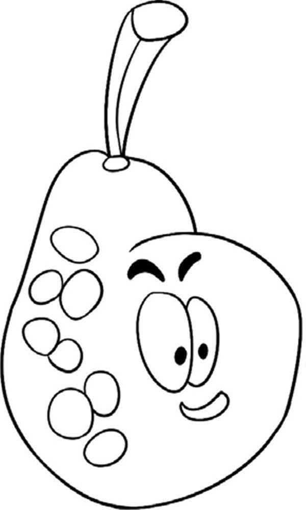 """4、身上画纹理  趣味简笔画:鲜嫩的梨绘画步骤四 梨多汁,即可食用,又可入药,为""""百果之宗"""",绞为梨汁,名为""""天生甘露饮""""。中国特优品种有鸭梨、雪花梨、苹果梨、南果梨、库尔勒香梨等。"""