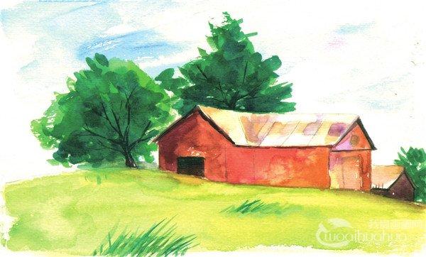 水彩田园风景的表现技巧    房子的墙体用褐色与棕色的色块来表现
