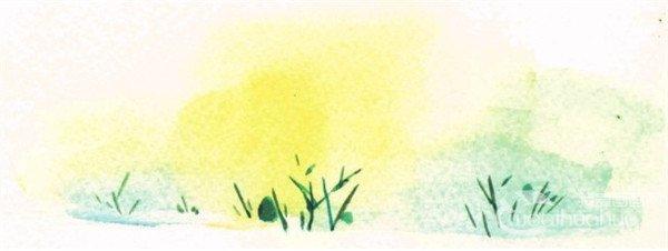 水彩田园风景绘画步骤二